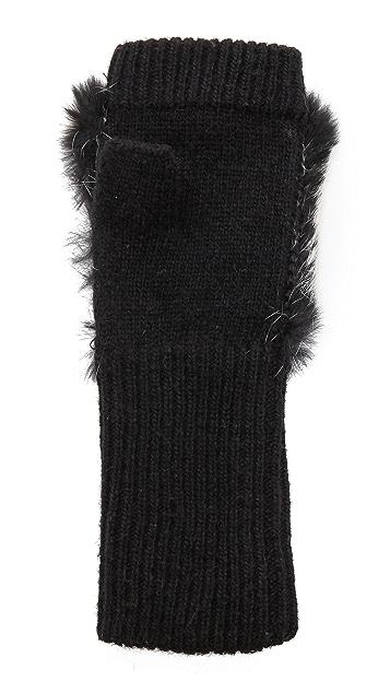 Adrienne Landau Fur Knit Fingerless Gloves