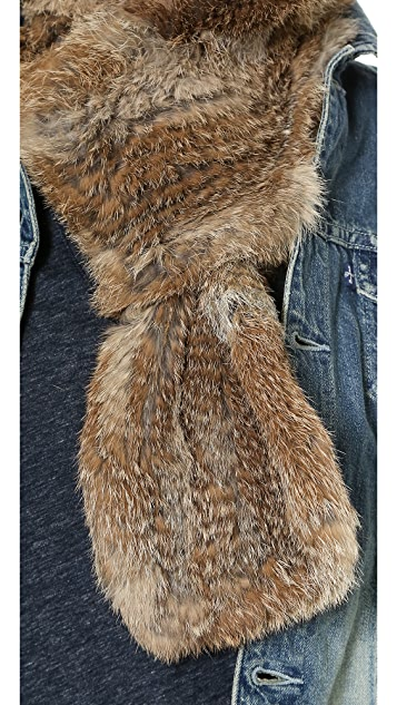 Adrienne Landau Knit Fur Hooded Scarf