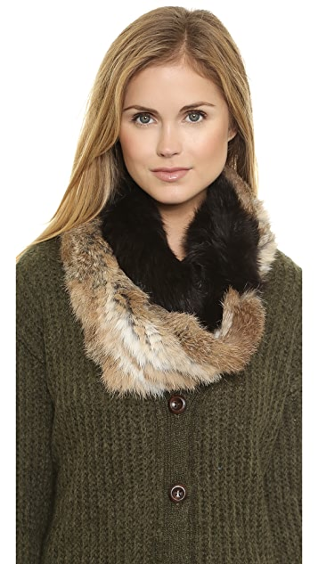 Adrienne Landau Knit Fur Loop Scarf
