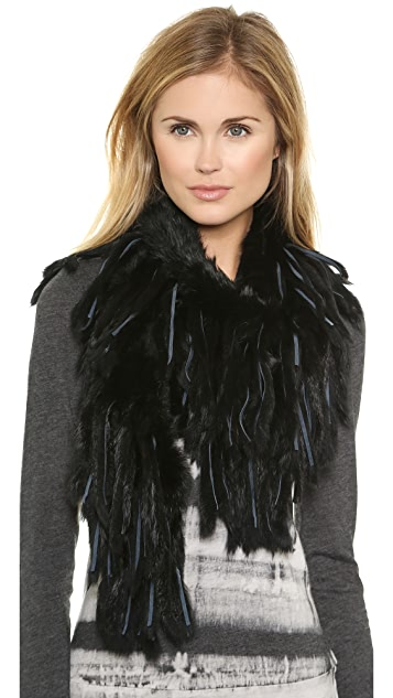 Adrienne Landau Knit Fringe Fur Scarf