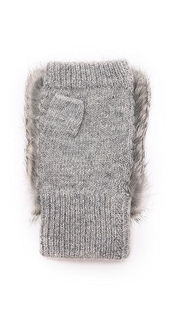 Adrienne Landau Knit Fingerless Fur Gloves