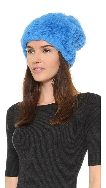 Adrienne Landau Knit Fur Pom Pom Hat  cb8db86e520