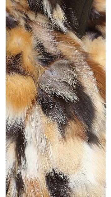 Adrienne Landau Multi Fox Fur Vest