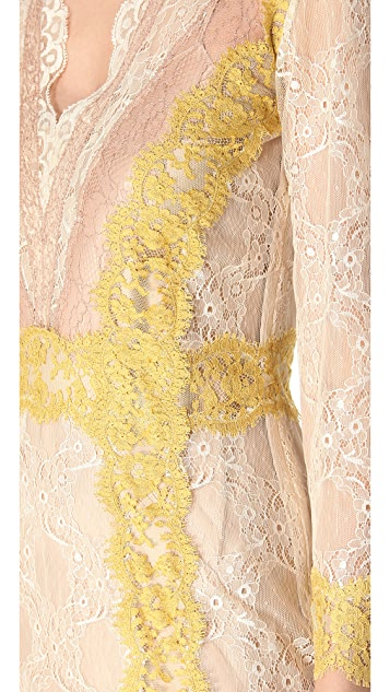 Alberta Ferretti Collection Long Sleeve Lace Dress