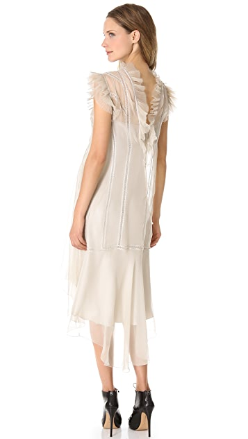 Alberta Ferretti Collection Sleeveless Ruffle Dress