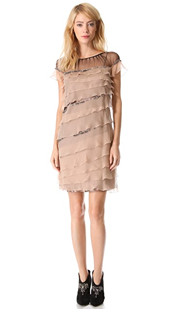 Alberta Ferretti Collection Ruffled Shift Dress with Crystals