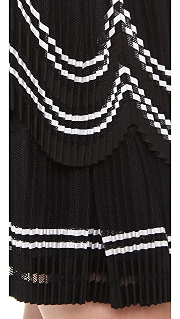 Alberta Ferretti Collection Accordion Tulle Layered Skirt