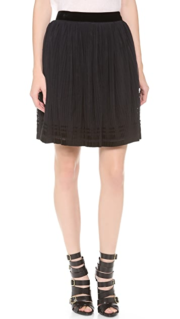Alberta Ferretti Collection Accordion Tulle Skirt