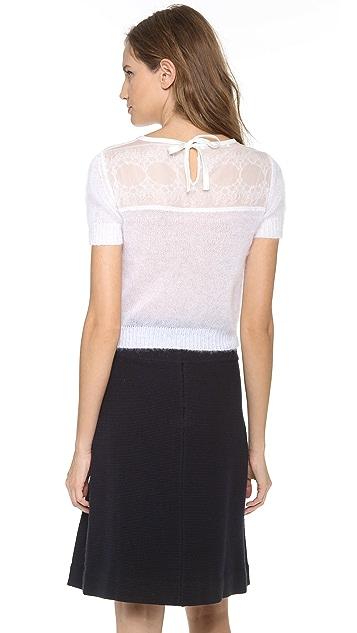 Alberta Ferretti Collection Sweater with Lace Trim