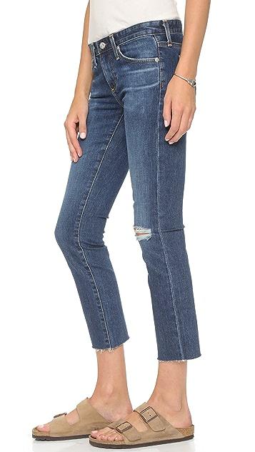 AG The Stilt Raw Hem Crop Cigarette Jeans