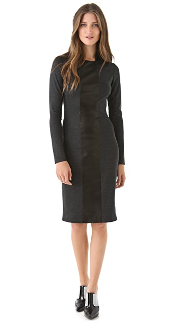 Alex Kramer Wool Dress with Leather