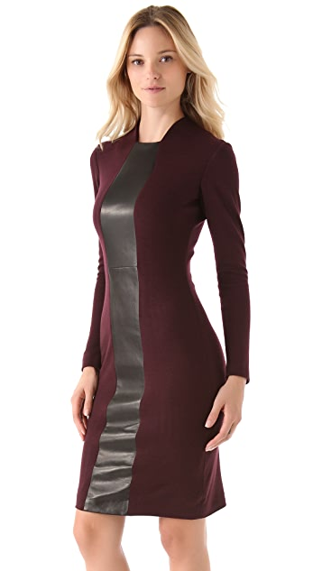 Alex Kramer Long Sleeve Dress with Leather Panel