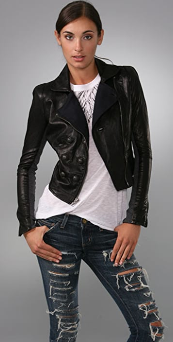 A.L.C. Leather Military Jacket