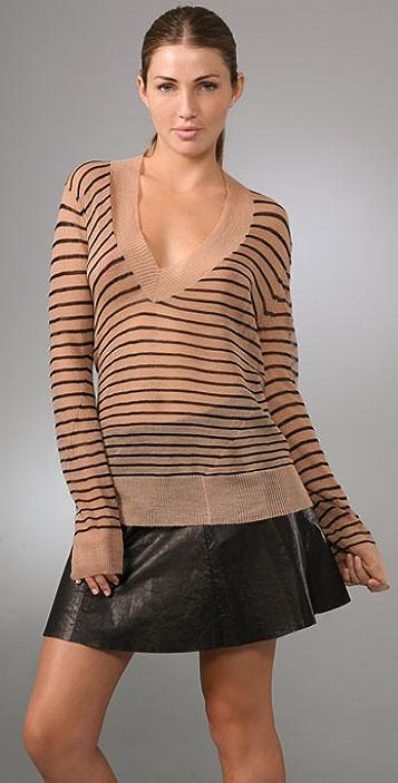 A.L.C. Stripe V Neck Sweater