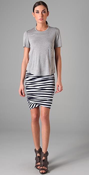 A.L.C. Striped Twisty Skirt