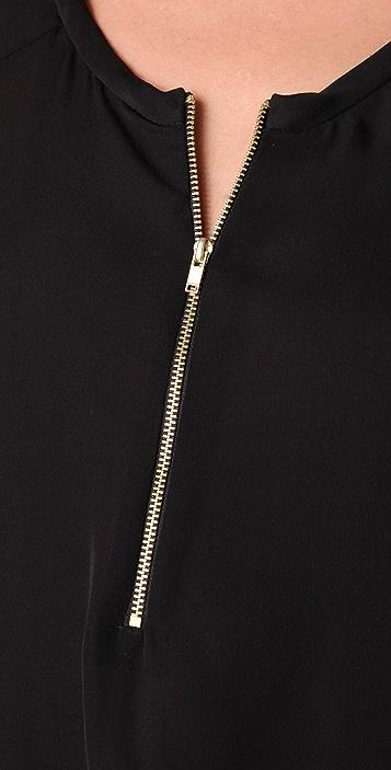 A.L.C. Long Sleeve Silk Henley