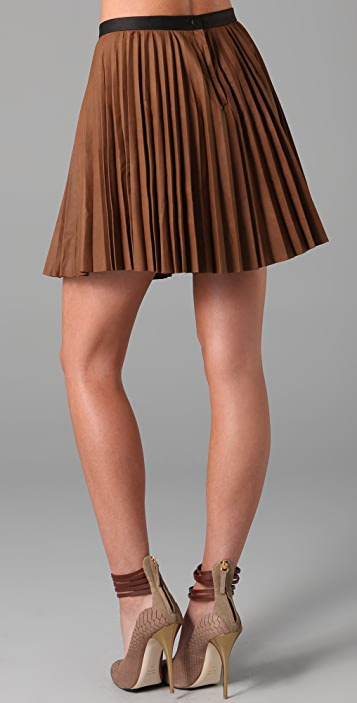 A.L.C. Leather Pleated Skirt