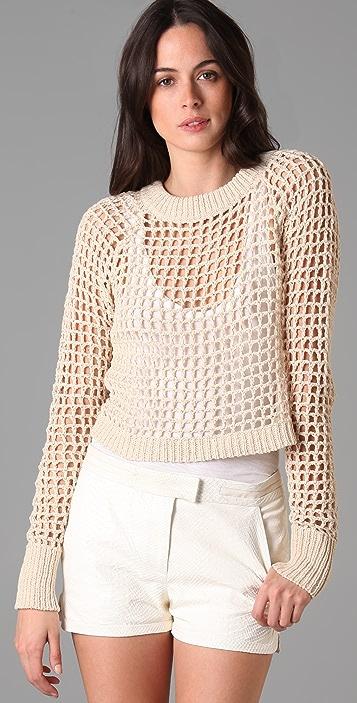 A.L.C. Crop Crochet Top