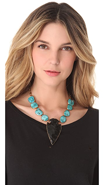 Charles Albert Turquoise & Obsidian Arrowhead Necklace