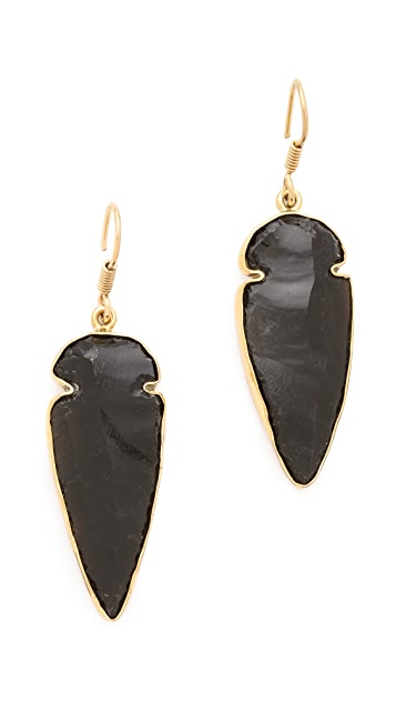 Charles Albert Obsidian Arrowhead Earrings