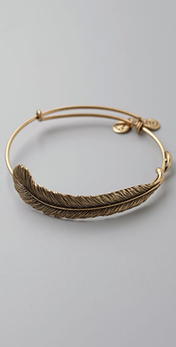 Alex and Ani Expandable Wire Bangle with Plume Feather