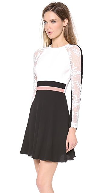 Alex Perry Yvonne Mini Colorblock Lace Dress