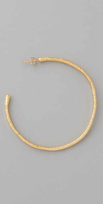 Alexis Bittar Gold Textured Hoop Earrings