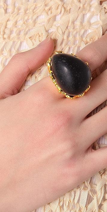 Alexis Bittar Gold Baroque Black Coal Resin Ring