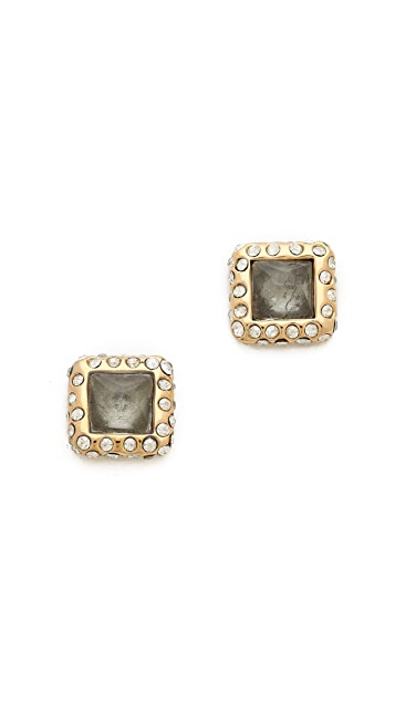 Alexis Bittar Geometric Stud Pyrite Earrings