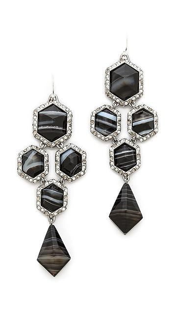 Alexis Bittar Pave Chandelier Black Agate Earrings