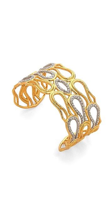 Alexis Bittar Scalloped Aigrette Crystal Cuff Bracelet