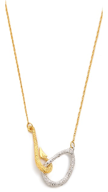 Alexis Bittar Crystal Encrusted Fish Hook Necklace