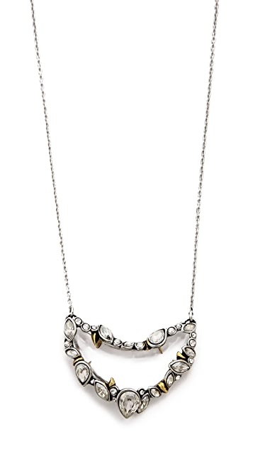Alexis Bittar Jagged Edge Crystal Framed Crescent Pendant Necklace