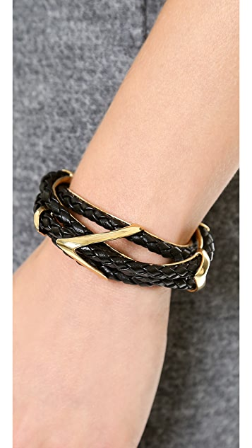 Alexis Bittar Leather Orbital Cuff Bracelet