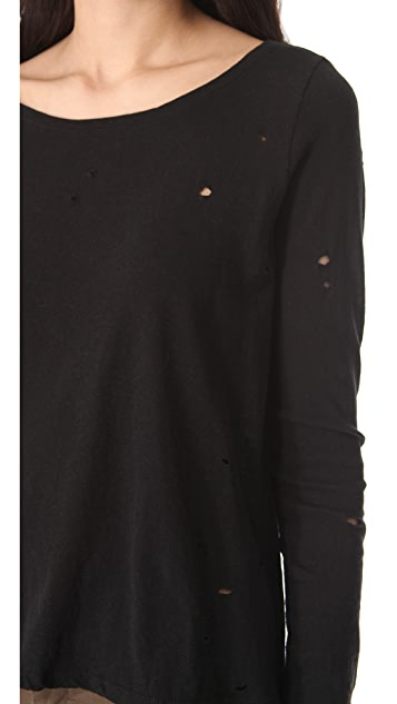 AIR by alice + olivia Distressed Long Sleeve Tee