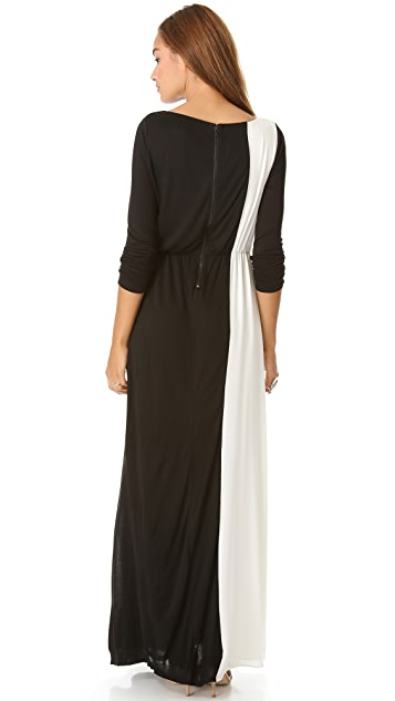 AIR by alice + olivia Cinched Waist Combo Maxi Dress