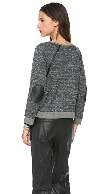 AIR by alice + olivia Leather Elbows Sweater