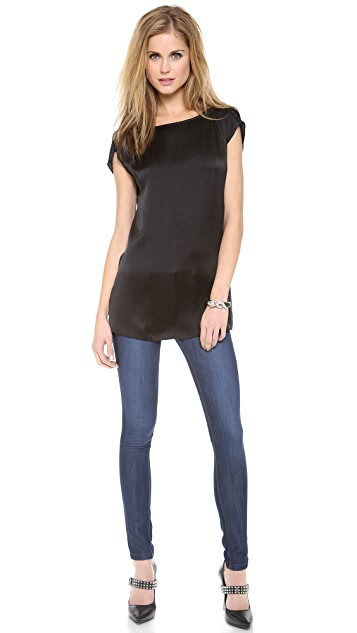 AIR by alice + olivia Boat Neck Roll Sleeve Tunic