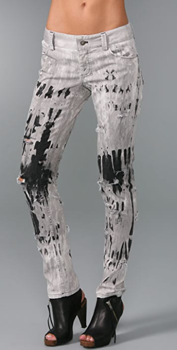 alice + olivia Spatter Ripped Skinny Jeans