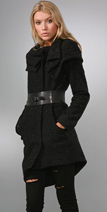 alice + olivia Petal Collar Coat with Belt
