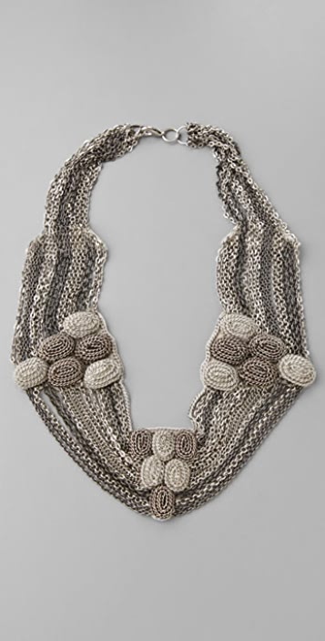 alice + olivia Multi Chain Embroidered Necklace