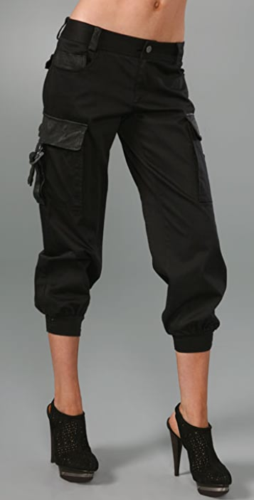 alice + olivia Banded Bottom Cargo Pants with Leather Trim