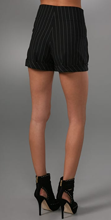 alice + olivia Pinstripe Pleated Shorts with High Waist