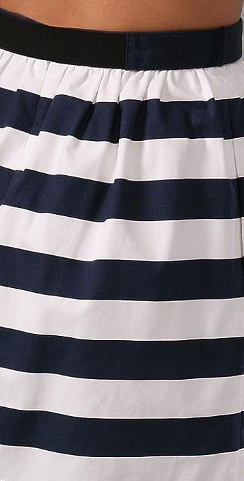 alice + olivia Striped High Waist Skirt with Belt