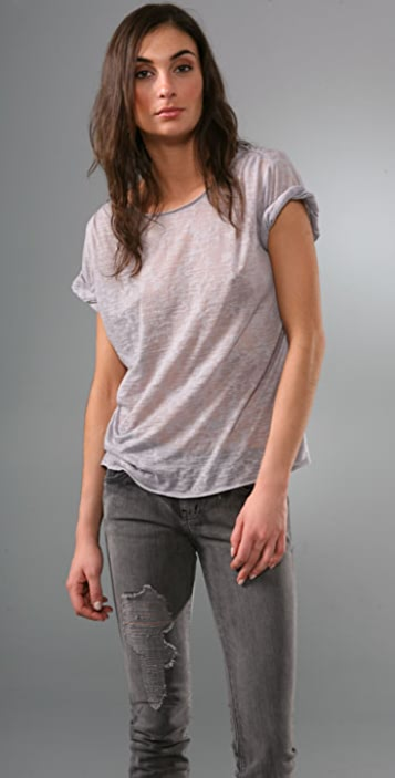 alice + olivia Rolled Sleeve Burnout Top