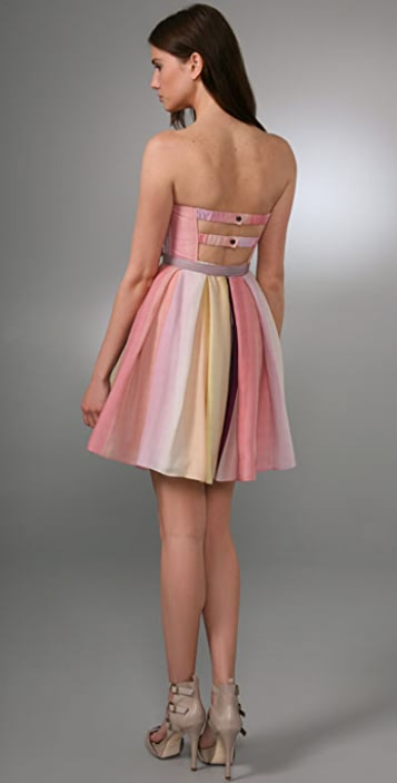 alice + olivia Lexi Strapless Ballerina Dress with Belt