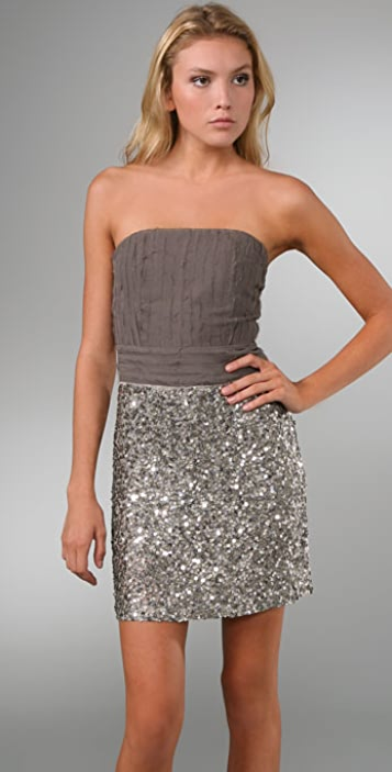 alice + olivia Aubrey Bustier Dress with Sequin Skirt