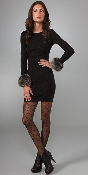 alice + olivia Adrianna Knit Dress with Fox Fur Cuffs