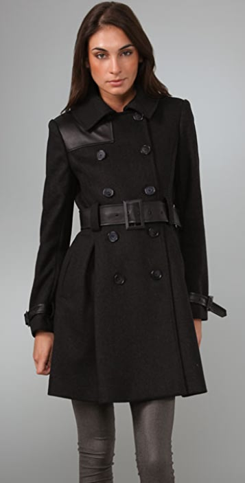 alice + olivia Klein Pleat Back Trench