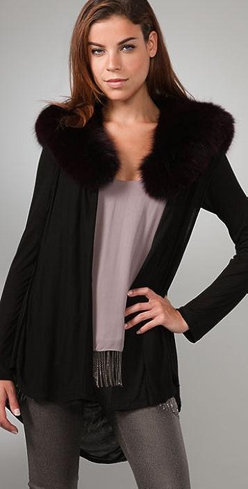 alice + olivia Cascade Cardigan with Fox Fur Collar